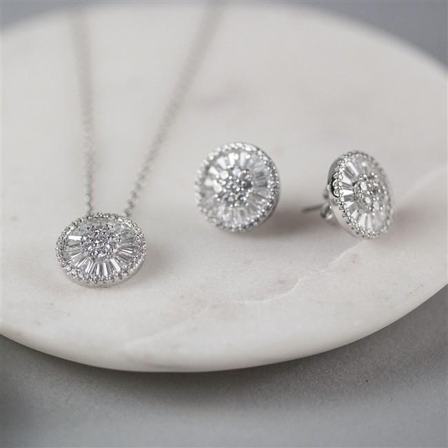 Sterling Circular Necklace & Earrings Set