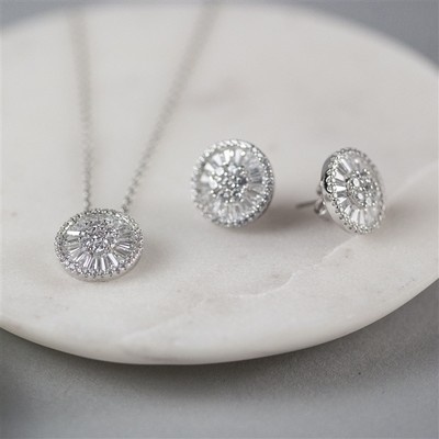 Sterling Circular Necklace & Earrings Set