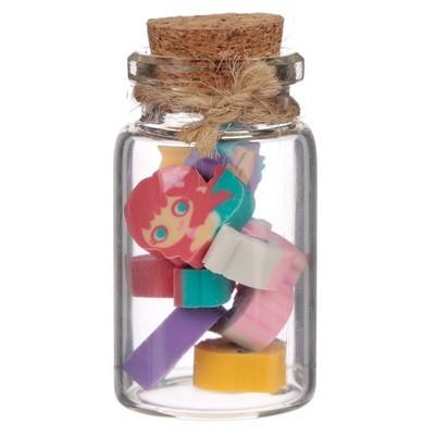 Cute Mermaid Erasers Jar Set