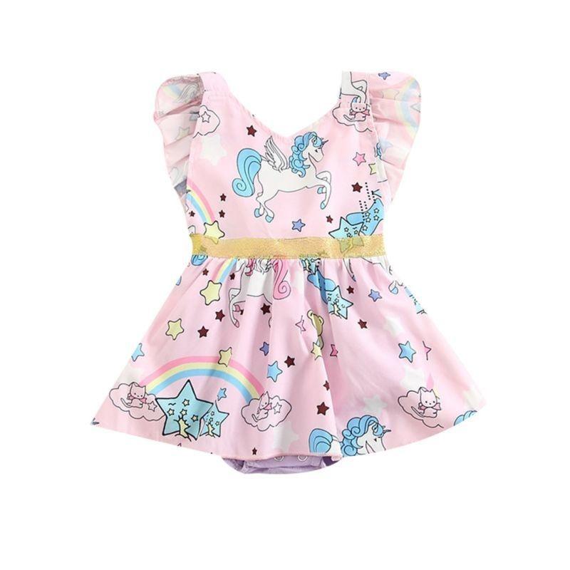 0b2f2ba0b48 Unicorn Rainbow Print Ruffle Baby Romper Dress