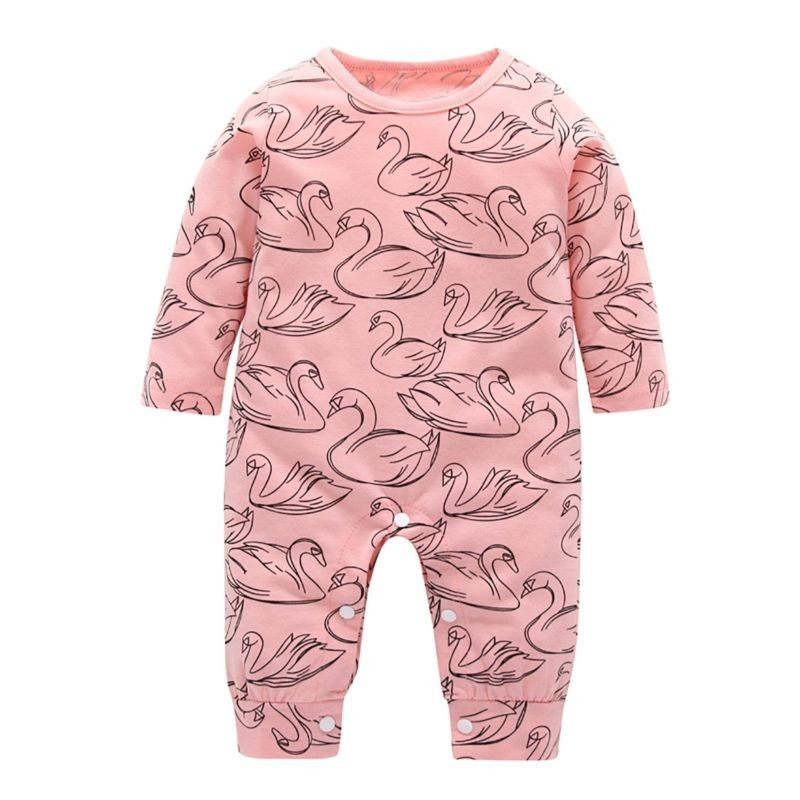 Swan Print Baby Jumpsuit Long-sleeved