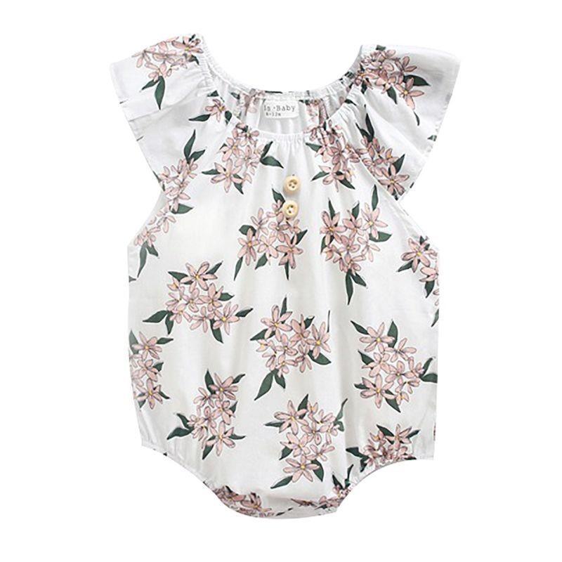 Flower Print Baby Little Girl Romper