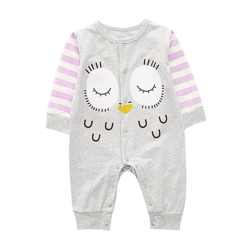 Cartoon Owl Newborn Jumpsuit Long-sleeved