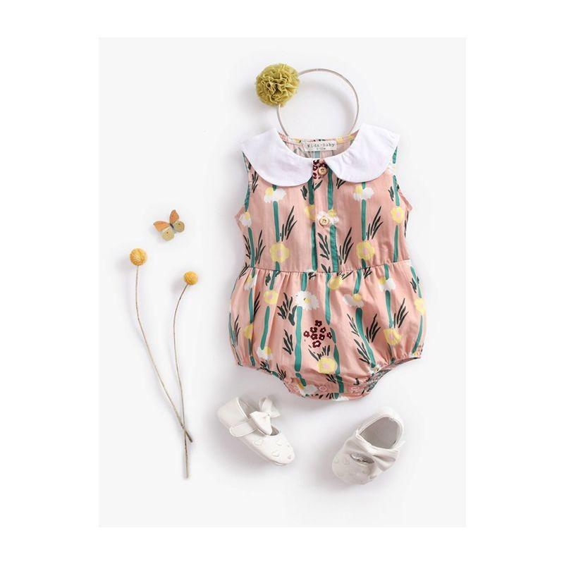 Peter Pan Collar Floral Sleeveless Baby Cotton Romper