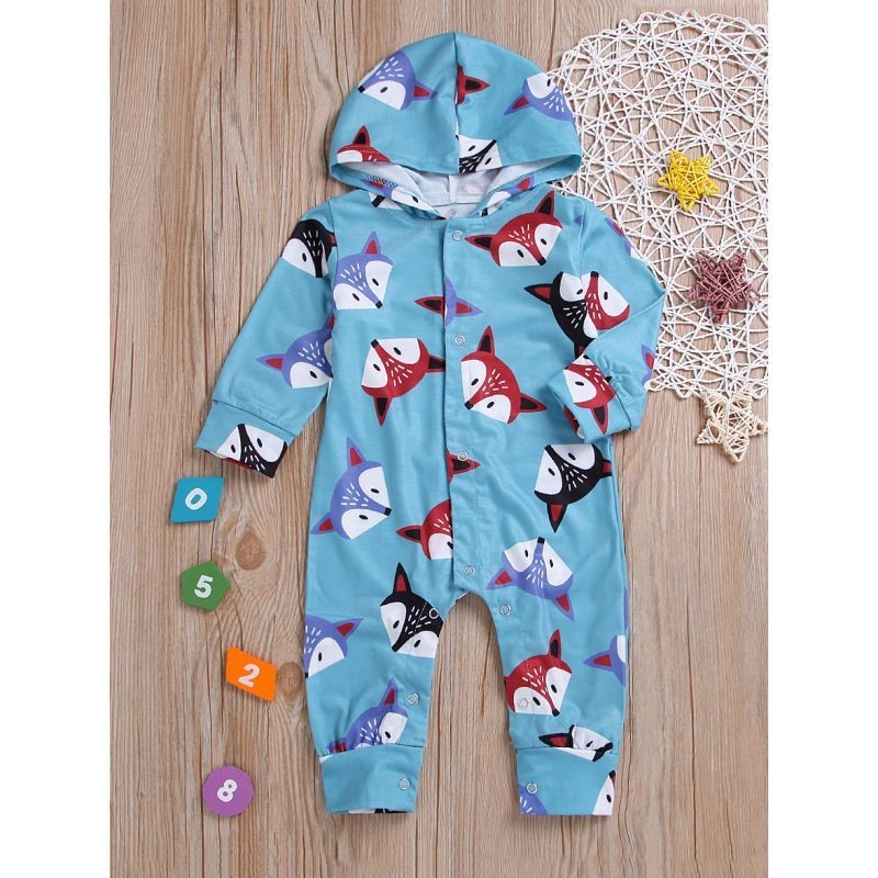 Hooded Fox Buttoned Jumpsuit