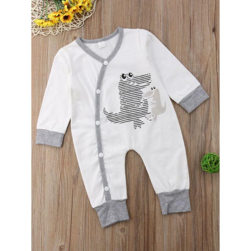Buttoned Dinosaur Baby Sleepsuit