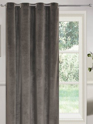 SIENNA MATT VELVET EYELET SINGLE DOOR CURTAIN PANEL - GREY