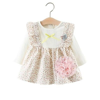 Floral Baby Girl Dress with Decorative Mini Mesh Bag