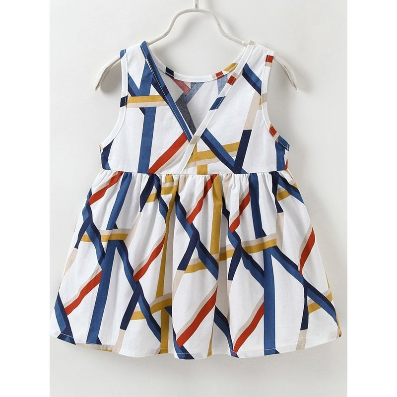 Geo-strip Pattern Sleeveless Dress with Headband
