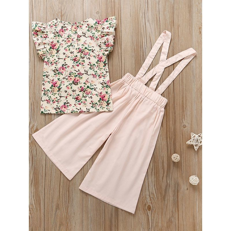 Short Flutter Sleeve Floral T-shirt Top Suspender Loose Pants Set