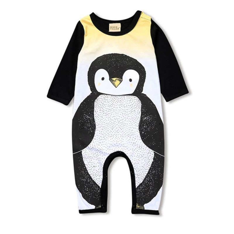 Cartoon Penguin Overalls Long-sleeved