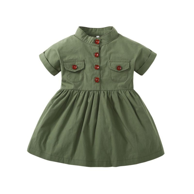 Green Buttoned Casual Dress