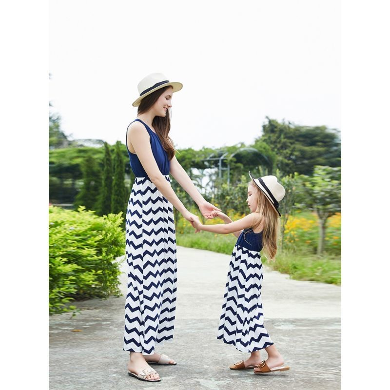 Mum and Me - Wave Pattern Sleeveless Dress
