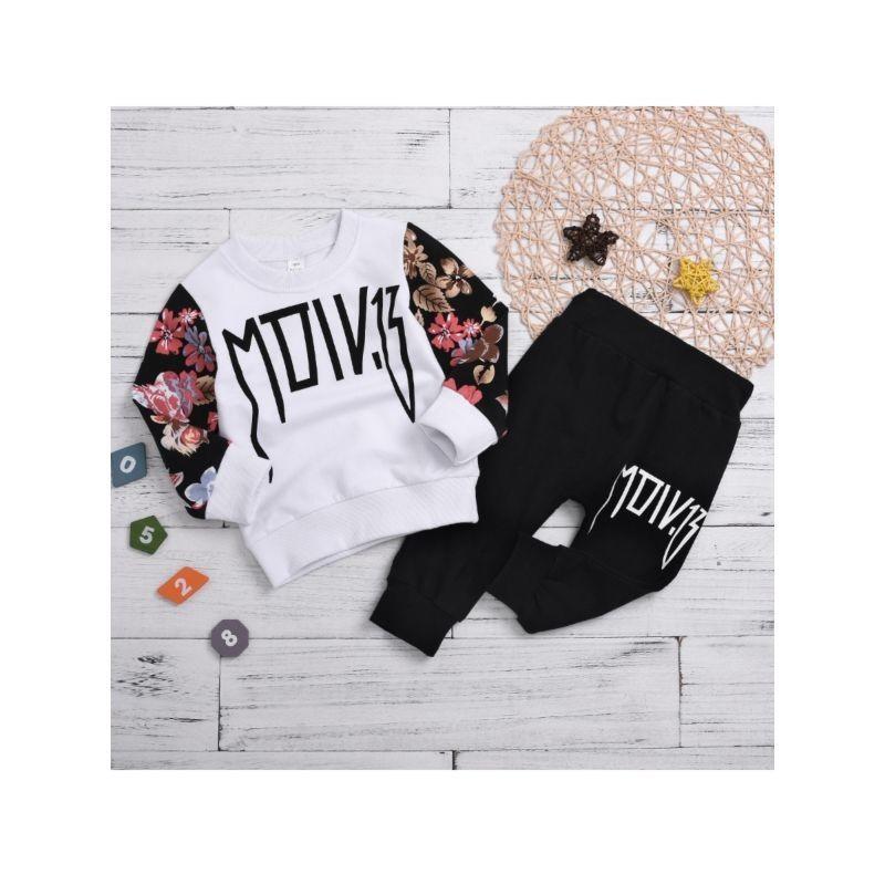 2-Piece Little Girl Tracksuit Flower Jumper & Black Sport Pants