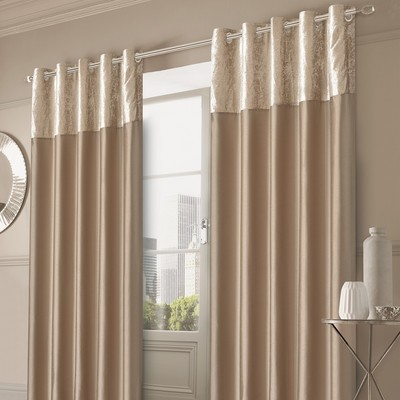 CRUSHED VELVET BAND EYELET CURTAINS - GOLD