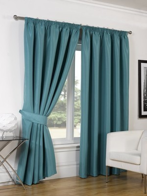 FAUX SILK BLACKOUT CURTAINS - TEAL 46X54