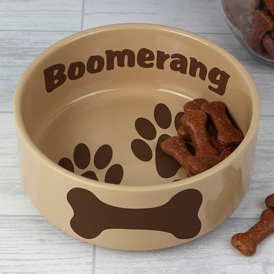 Personalised Large Brown Paws Dog Bowl