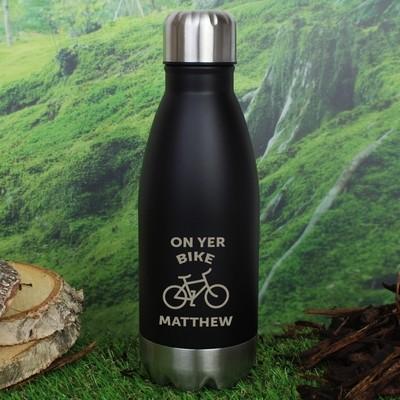 Personalised Bicycle Black Travel Bottle