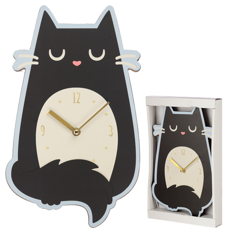 Fun Feline Fine Cat Shaped Wall Clock