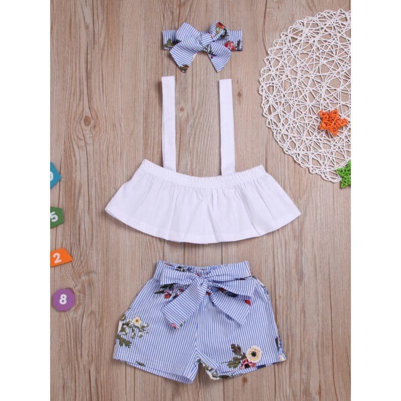 3-Piece Summer Outfit Blue Shorts Headband