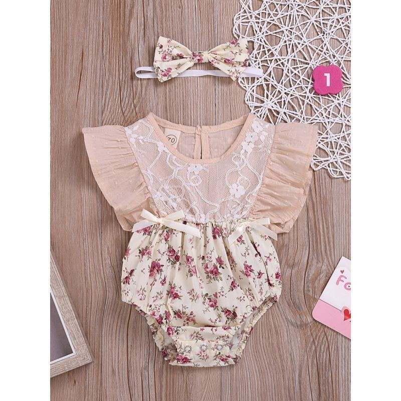 2-Piece Flutter Sleeve Flower Romper