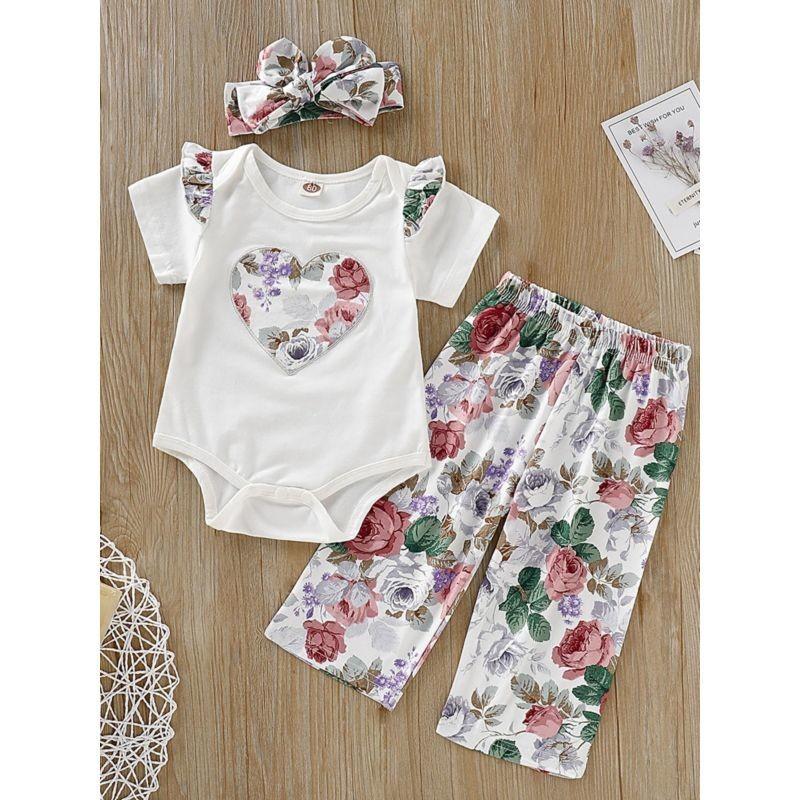 3-Piece Flower Outfit Flutter Sleeve