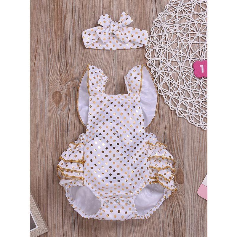 2-Piece Polka Dots Ruffle Romper Matching Headband - White