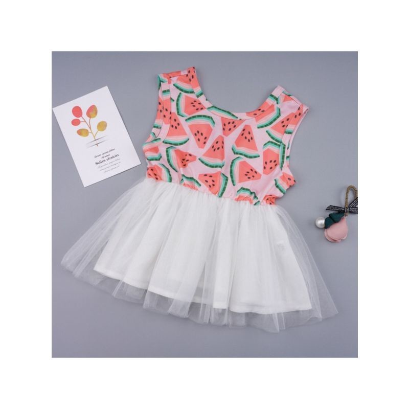 Watermelon Mesh Patchwork Sleeveless Dress