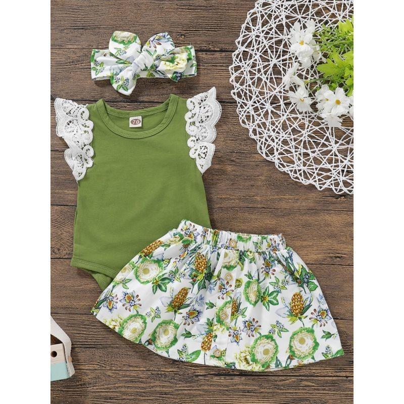 3-Piece Summer Baby Outfit Flutter Sleeve Green Bodysuit