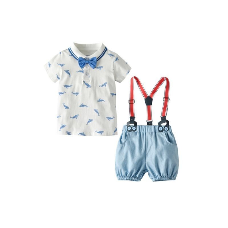 2-Piece Whale Little Boys Clothes Outfits Polo Shirt