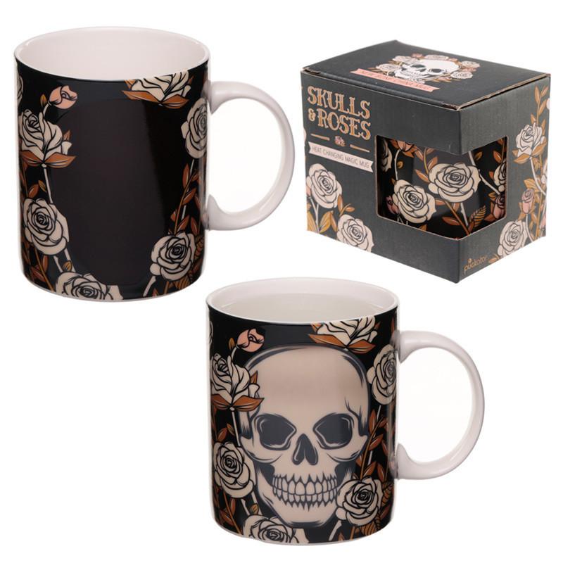 Heat Colour Changing New Bone China Mug - Skulls and Roses