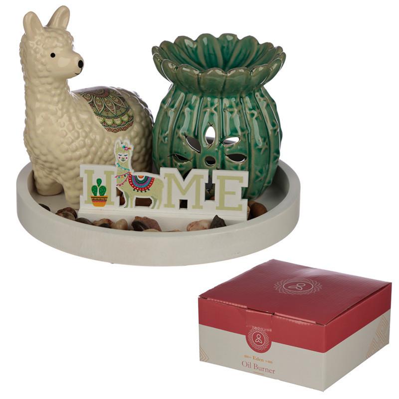 Eden Aroma Set - Cactus Oil Burner & Llama Ceramic Figurine