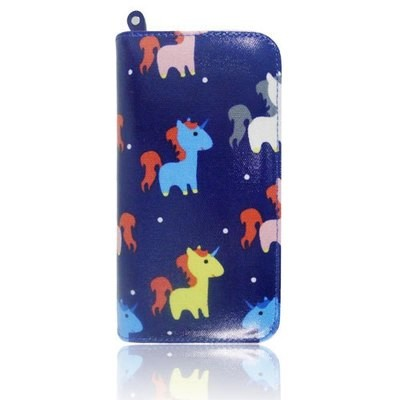 UNICORN PRINT OIL CLOTH LONG ZIP PURSE DARK BLUE