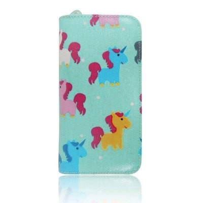 UNICORN PRINT OIL CLOTH LONG ZIP PURSE TURQUOISE