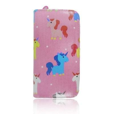 UNICORN PRINT OIL CLOTH LONG ZIP PURSE PINK