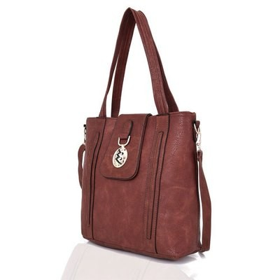 LADIES FREYA MEDALLION DETAIL HANDBAG RED BROWN