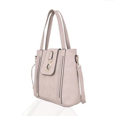 LADIES FREYA MEDALLION DETAIL HANDBAG LIGHT GREY