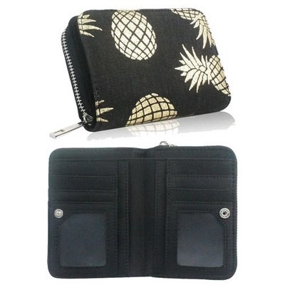 PINEAPPLE DESIGN SHORT ZIP PURSE BLACK