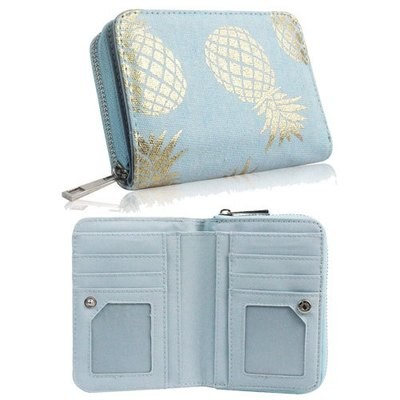 PINEAPPLE DESIGN SHORT ZIP PURSE BLUE