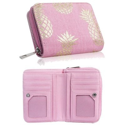 PINEAPPLE DESIGN SHORT ZIP PURSE PINK