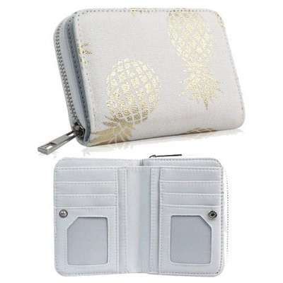 PINEAPPLE DESIGN SHORT ZIP PURSE WHITE