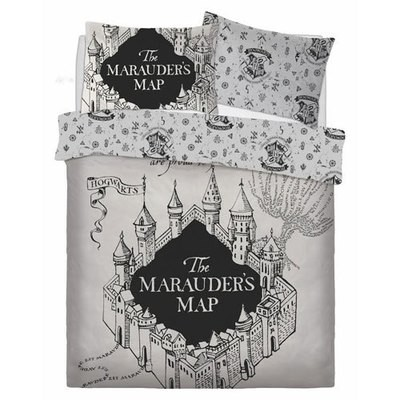 OFFICIAL HARRY POTTER MARAUDERS MAP REVERSIBLE DOUBLE DUVET SET
