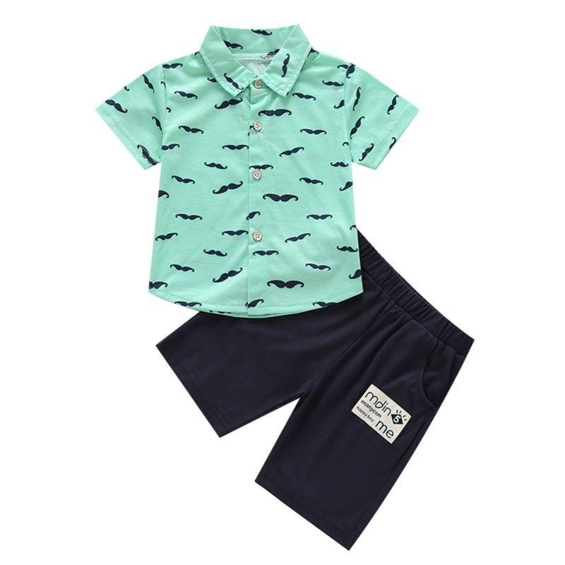 Mustache Print Turn Down Collar Shirt Matching Shorts