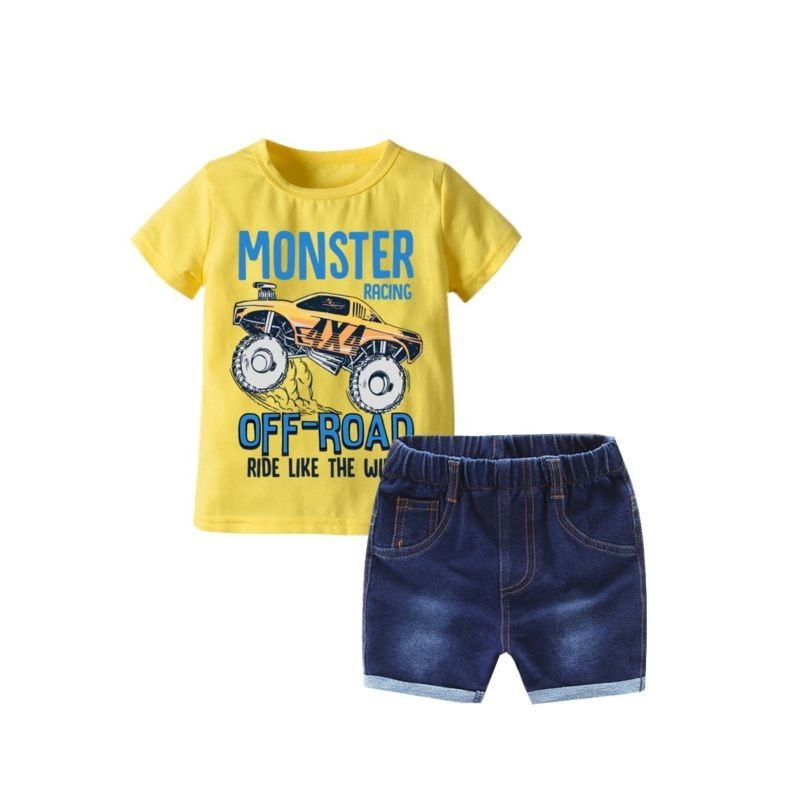 MONSTER RACING OFF-ROAD CAR Printer Yellow T-shirt Matching Denim Shorts