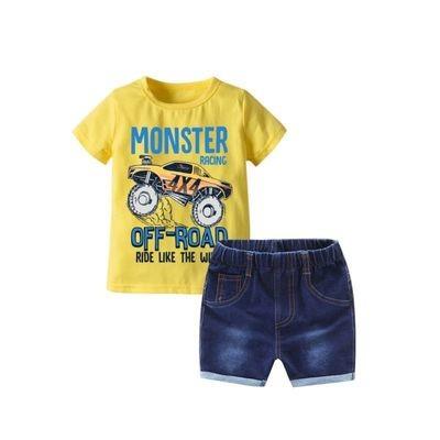 MONSTER RACING OFF-ROAD CAR Printer Yellow T-shirt Matching Denim Shorts