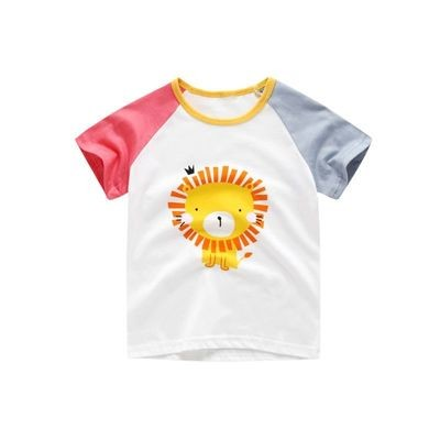 Cartoon Lion Color-blocking  Boys T-shirt