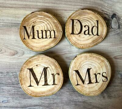 Daddy's Workshop - Personalised Handmade Reclaimed Wooden Log/Branch Coaster
