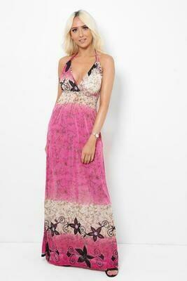 Pink Floral Print Drawstring Top Maxi Dress