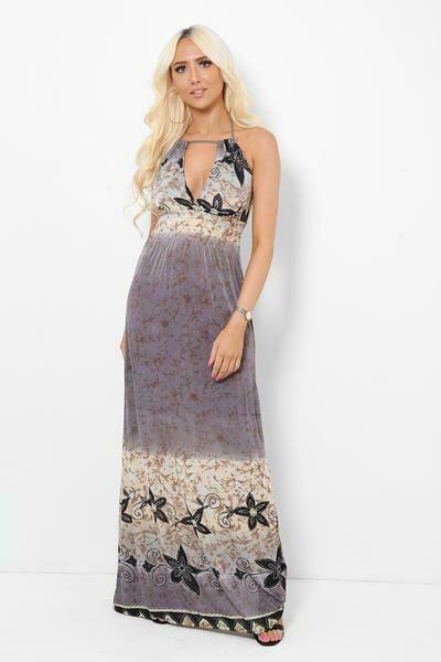 Grey Floral Print Drawstring Top Maxi Dress