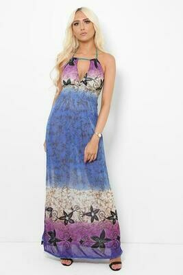 Blue And Purple Floral Print Drawstring Top Maxi Dress
